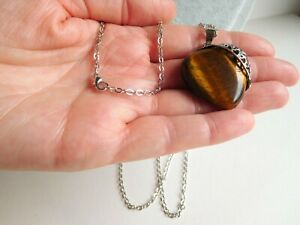 """Large Tigers Eye Crystal Puff Heart Filigree Pendant On 28"""" SP Chain Necklace"""