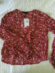 SANCTUARY Cori Red Floral Surplice Print Top Shirt Small S NEW $89 NEW