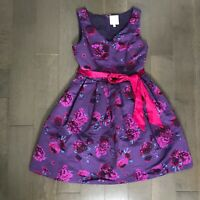 ModCloth Medium Dress Beautiful You Fit And Flare Sleeveless Purple Floral