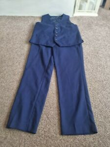Boys blue, two piece suit, trousers and waistcoat wedding party Age 9