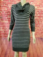 Connected Apparel SWEATER DRESS 3/4 Sleeve Cowl Neck Striped Gray Size M. NWOT