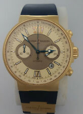 Giant Ulysse Nardin Marine 18k Rosy Gold Chronograph No. 877 356-66 Watch Box