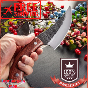Professional Chef Knife High Carbon Steel Meat Cleaver Butcher + Leather Cover
