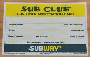 Vintage SUBWAY Restaurant SUB CLUB Customer Appreciation Card 1998
