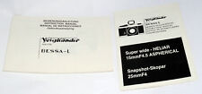 VOIGTLANDER BESSA-L camera & HELIAR 15mm f4.5 SKOPAR 25mm f4 Instruction Manual