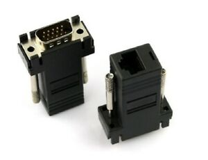 ADATTATORE CONVERTITORE DA VGA MASCHIO A LAN VGA TO LAN CAT 5 5e RJ45 EXTENDER