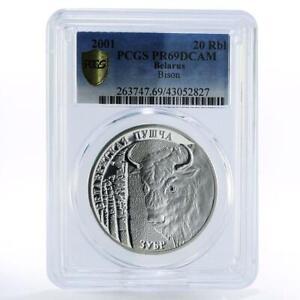 Belarus 20 rubles Belovezhskaya Puscha Wildlife Bison PR69 PCGS silver coin 2001