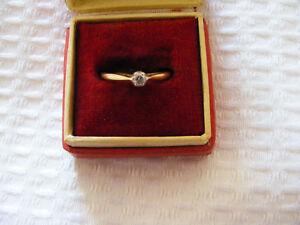 Diamond   18ct   Gold   Single  Stone  Solitaire   Ladies   Ring   Size   K 1/2