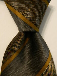 ERMENEGILDO ZEGNA Men's 100% Silk Necktie ITALY Luxury STRIPED Brown/Green GUC