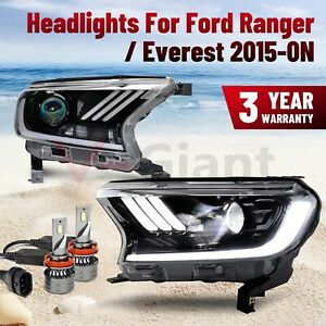 Pair LED Projector Headlights For Ford Ranger PX2 PX3 Everest 2015-ON AU