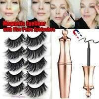 5 Pairs Set Waterproof Magnetic Eyeliner with Eyelashes and Tweezer Long Lashes