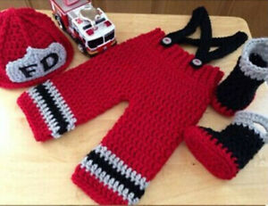 newborn red firefighters baby photo clothes hand knit Clothes Photo Prop hat