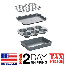 Non-Stick Toaster Oven Bakeware Set 4-Piece, Carbon Steel, Chicago Metallic 8044