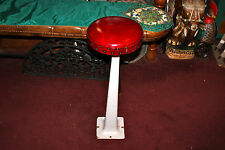 Antique Porcelain Metal Ice Cream Parlor Shop Stool W/Red Cushion Seat-#2