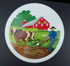 Vintage Amish Cookie Biscuit Tin Country Farm Scenes Pennsylvania Dutch Folk Art