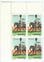 AUSTRALIA 1978 'RACEHORSES - BERNBOROUGH' - MNH CORNER BLOCK of 4 X 35c Stamps