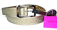 Betsey Johnson XOX Pewter Hearts Print Women's Belt Size Large New NWT
