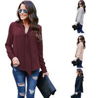 Fashion Women Long Sleeve Loose Blouse Ladies Summer V Neck Casual Shirt Tops