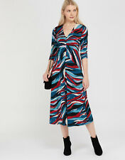 New MONSOON Mareena Marble Print Blue Red Ruched Jersey Midi Dress Size 14 £60