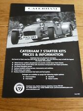 CATERHAM CARS, CATERHAM 7 STARTER KITS PRICES CAR 'BROCHURE' MID 90's