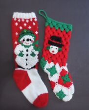 Vintage Christmas Stockings Hand Knit Crocheted Bells Fringe Holiday Retro Pair