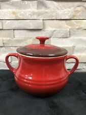 LE CREUSET French Red Ceramic Potery Cerise Lidded Soup Bean Bowl