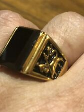 Vintage Gold Plated Stainless Steel Black Onyx Size 8 Men's Lion Leo Ring