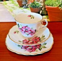 Royal Vale China Pink Floral Tea Set Trio