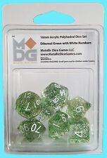 MDG 16MM POLYHEDRAL 7 DICE SET ETHEREAL GREEN w WHITE NUMBERS metallic games rpg