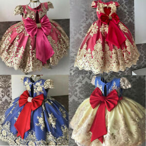 UK Embroidery Kid Baby Girl Princess Dress Party Wedding Flower Lace Bow Dresses