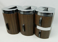 Vintage Kromex Kitchen Canister Set Faux Wood Grain Excellent Condition MCM
