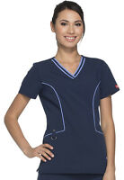 Scrubs Dickies Xtreme Stretch Women V Neck Top DK715 NVYZ Navy Free Shipping