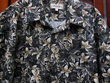 Campia Moda Hawaiian Floral Style Black White Beige Shirt Men's XL 100% Cotton
