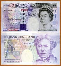 Great Britain 20 pounds, (1993), Pick 384 (384a) QEII, UNC > Faraday