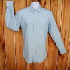 Banana Republic Dress Shirt Mens Sz M Blue Striped 100% Cotton Non Iron Slim Fit