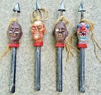 Vintage Halloween Decorative Spikes Shrunken Heads Zombies 24 inches Tall
