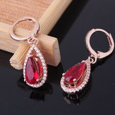 HOT 18k rose gold filled noble garnet smart jewellery party dangle earring