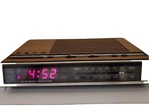 VINTAGE GENERAL ELECTRIC 7-4636D AM FM RADIO DUAL ALARM CLOCK WOOD GRAIN TESTED
