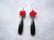 Red Rose Negro Facetado Largo Lágrima encanto Aretes Regalo Bolsa lágrima SP