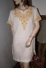 38f3056e8e8f4 Weißes Kleid * Nachtkleid * Negligee * Tunika * Party * Strand  Goldstickerei M/L