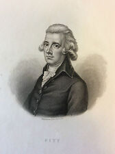 Pitt homme politique Britanique impression Gilquin et Dupain circa 1859 England