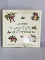 Longerberger Boxed Set Of 12 Miniature Pewter Ornaments 12 Days Of Christmas