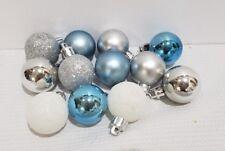 "(12) Coastal Beach Nautical Christmas MINI Ball Aqua Blue Ornaments 1.5"""