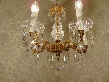 antik  5 Fl Kronleuchter Lüster Deckenlampe Bronze Gold Kristall   ca.1920