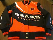 CHICAGO BEARS NFL JACKET WITH FULL SNAP UP SEWN  LETTERING AND LOGOS ADULT XS