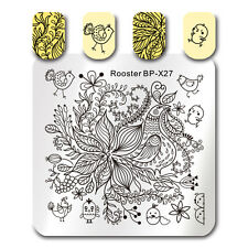 BORN PRETTY Nail Art Stamp Plate Rooster Chick Flower Template Stencil BP-X27