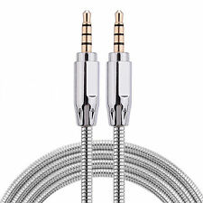 1 Meter Metal 3.5mm Audio Jack Aux Cable Gold Plated Car Mobile MP3 iPod Lead