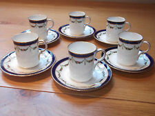 SIX EDWARDIAN COFFEE CUPS AND SAUCERS BY ADDERLEY