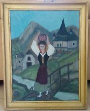 Peinture naïve Pyrénées, Basque ou Béarn Femme portant une cruche. Lombard 1949