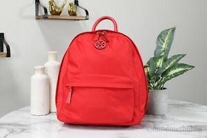 Tory Burch 73200 Ella Medium Nylon Brilliant Red Shoulder Backpack Bag Bookbag